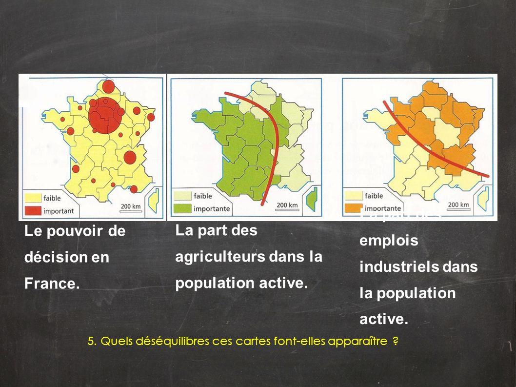 Le pouvoir de décision en France. La part des agriculteurs dans la population active. La part des emplois industriels dans la population active. 5. Qu