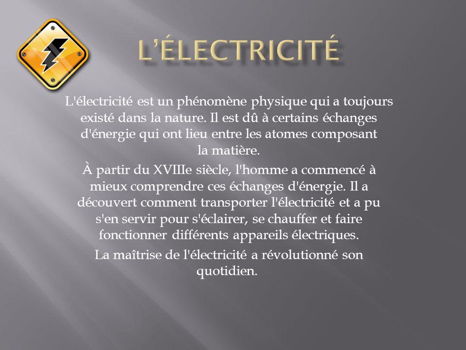 L'électricité est un phénomène physique qui a toujours existé dans la nature. Il est dû à certains échanges d'énergie qui ont lieu entre les atomes co