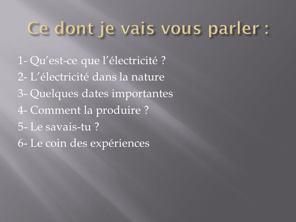 1- Quest-ce que lélectricité ? 2- Lélectricité dans la nature 3- Quelques dates importantes 4- Comment la produire ? 5- Le savais-tu ? 6- Le coin des