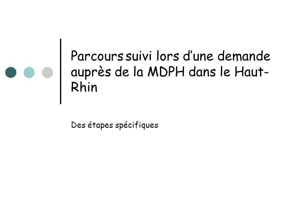 Parcours suivi lors dune demande auprès de la MDPH dans le Haut- Rhin Des étapes spécifiques
