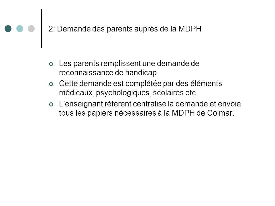2: Demande des parents auprès de la MDPH Les parents remplissent une demande de reconnaissance de handicap. Cette demande est complétée par des élémen