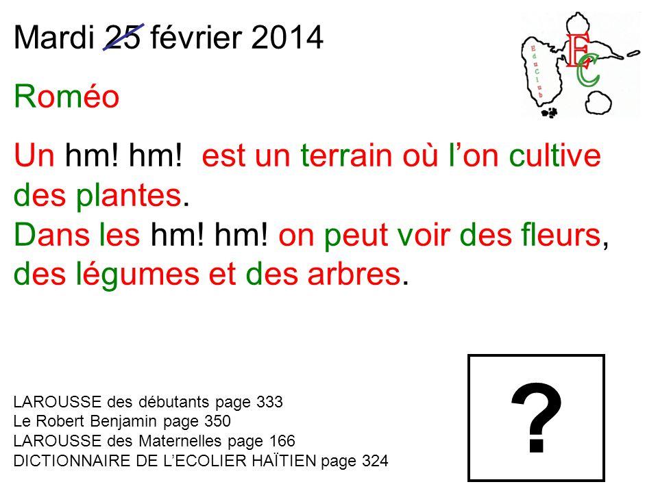 Mardi 25 février 2014 Roméo Un hm.hm. est un terrain où lon cultive des plantes.