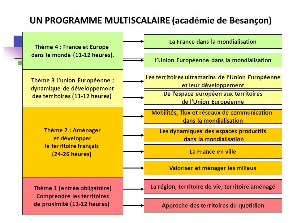 Thème 1 (entrée obligatoire) Comprendre les territoires de proximité (11-12 heures) Thème 2 : Aménager et développer le territoire français (24-26 heu
