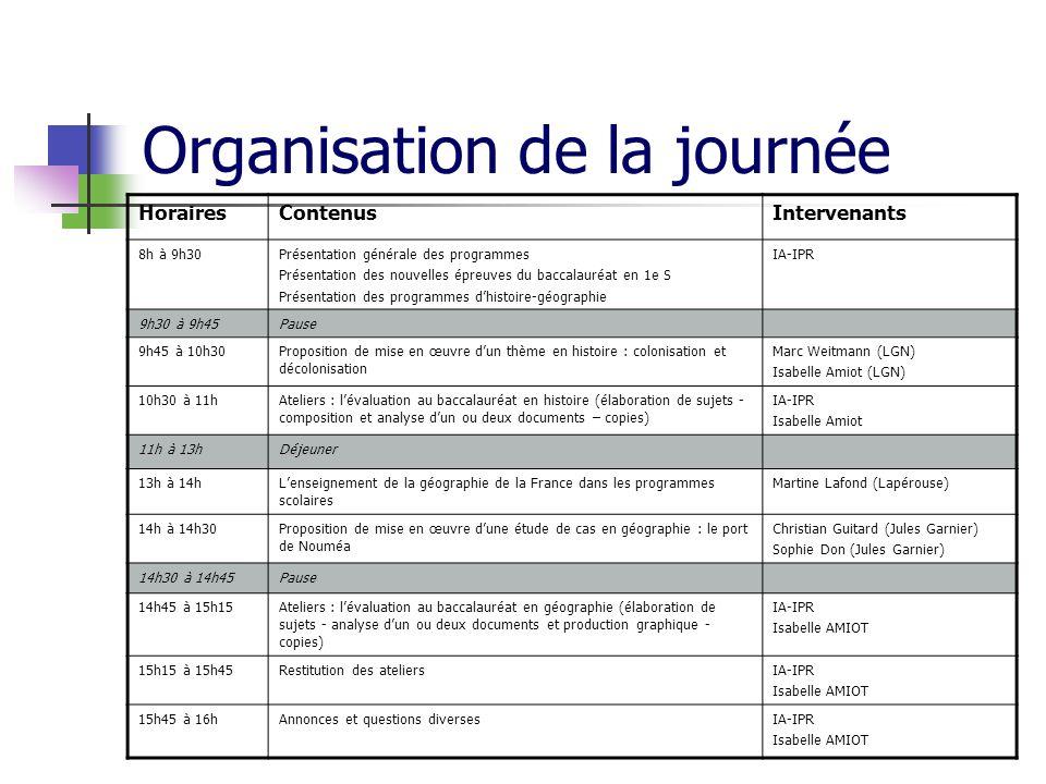 Organisation de la journée HorairesContenusIntervenants 8h à 9h30Présentation générale des programmes Présentation des nouvelles épreuves du baccalaur