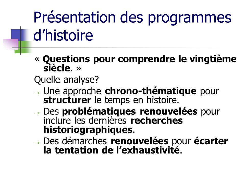 Présentation des programmes dhistoire « Questions pour comprendre le vingtième siècle. » Quelle analyse? Une approche chrono-thématique pour structure