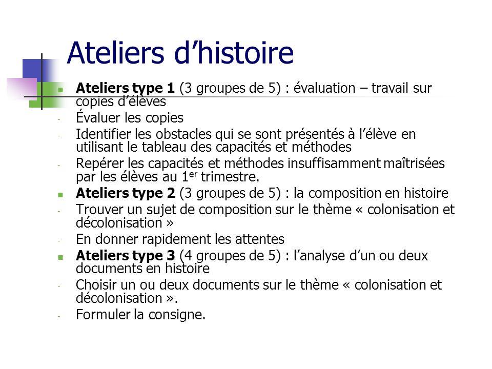 Ateliers dhistoire Ateliers type 1 (3 groupes de 5) : évaluation – travail sur copies délèves - Évaluer les copies - Identifier les obstacles qui se s