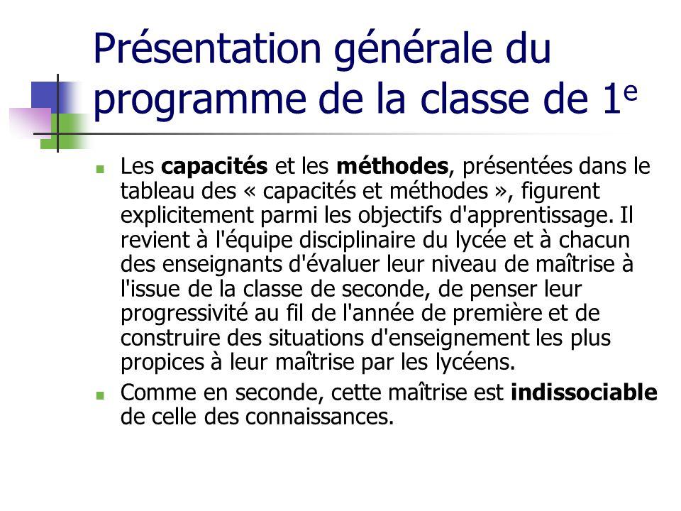 Présentation générale du programme de la classe de 1 e Les capacités et les méthodes, présentées dans le tableau des « capacités et méthodes », figure