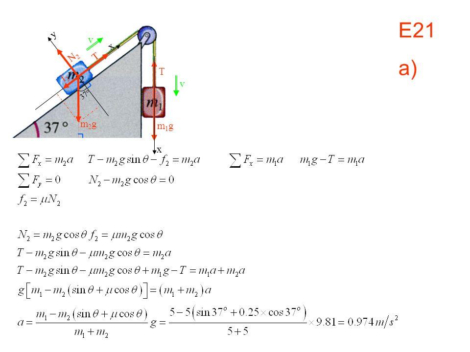 E21 a) v x m1gm1g x y N2N2 T f2f2 37 o m2gm2g T v