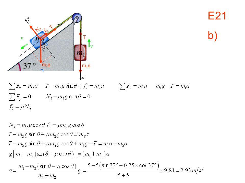 E21 b) v x m1gm1g x y N2N2 T f2f2 37 o m2gm2g T v