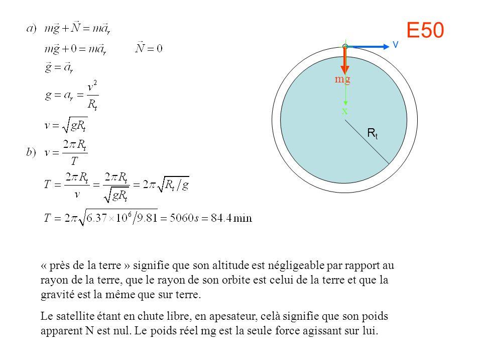 E50 mg v RtRt x « près de la terre » signifie que son altitude est négligeable par rapport au rayon de la terre, que le rayon de son orbite est celui de la terre et que la gravité est la même que sur terre.