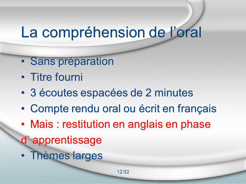 12/32 La compréhension de loral Sans préparation Titre fourni 3 écoutes espacées de 2 minutes Compte rendu oral ou écrit en français Mais : restitutio