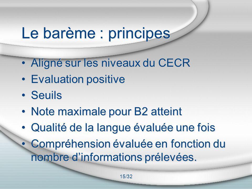15/32 Le barème : principes Aligné sur les niveaux du CECR Evaluation positive Seuils Note maximale pour B2 atteint Qualité de la langue évaluée une f