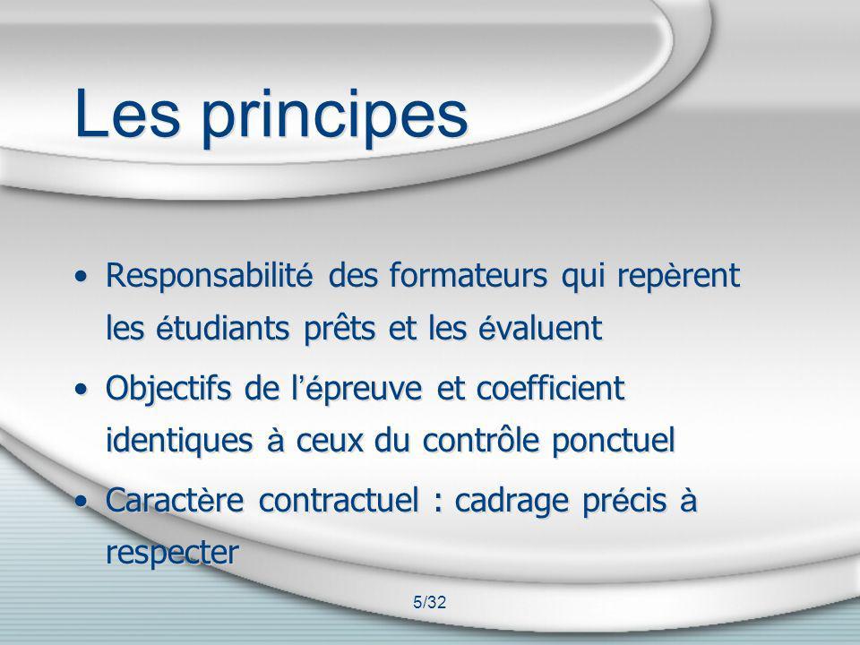 5/32 Les principes Responsabilit é des formateurs qui rep è rent les é tudiants prêts et les é valuent Objectifs de l é preuve et coefficient identiqu