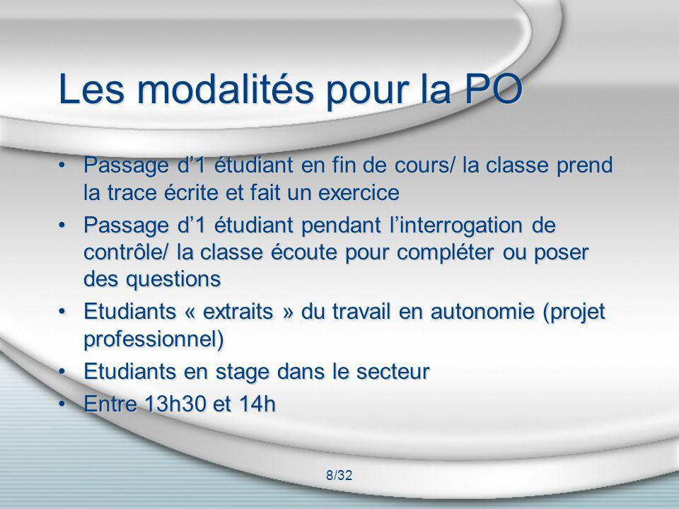 8/32 Les modalités pour la PO Passage d1 étudiant en fin de cours/ la classe prend la trace écrite et fait un exercice Passage d1 étudiant pendant lin