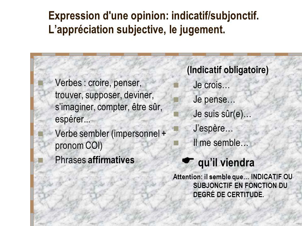 Expression d une opinion: indicatif/subjonctif.Lappréciation subjective, le jugement.
