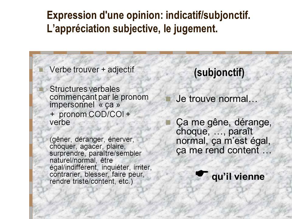 Expression d une opinion: indicatif/subjonctif.Le jugement impersonnel.