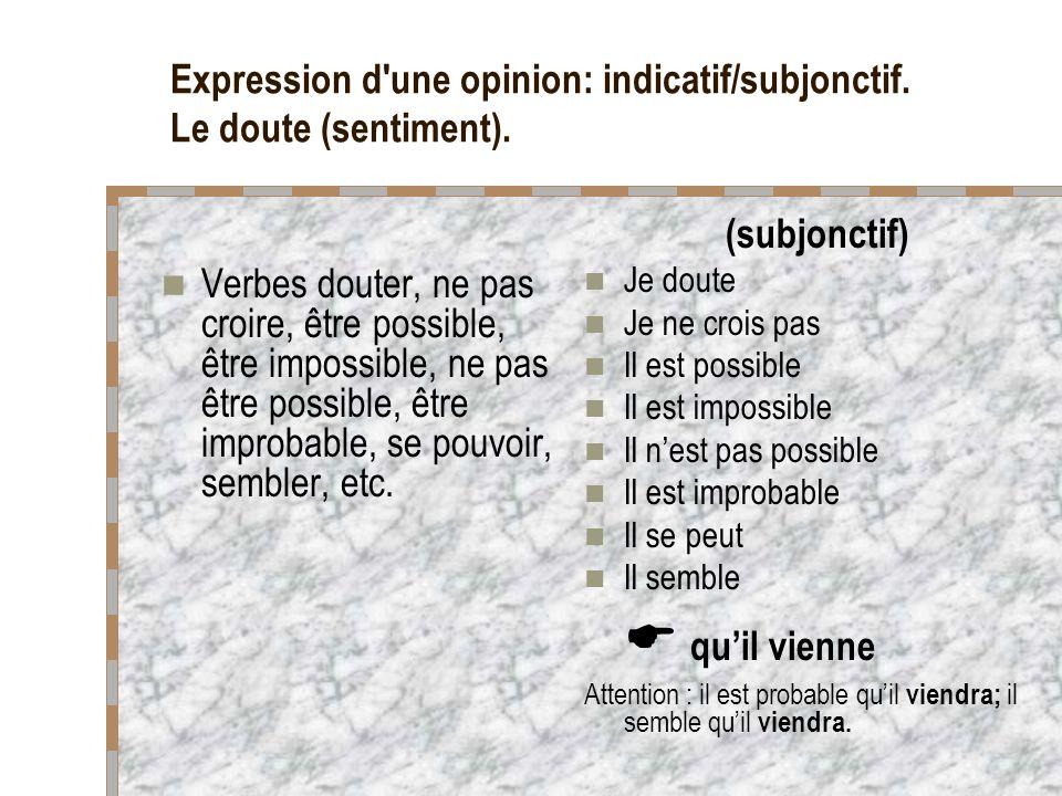 Expression d'une opinion: indicatif/subjonctif. Le doute (sentiment). Verbes douter, ne pas croire, être possible, être impossible, ne pas être possib
