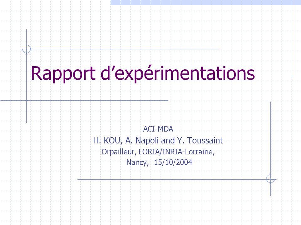Rapport dexpérimentations ACI-MDA H. KOU, A. Napoli and Y. Toussaint Orpailleur, LORIA/INRIA-Lorraine, Nancy, 15/10/2004