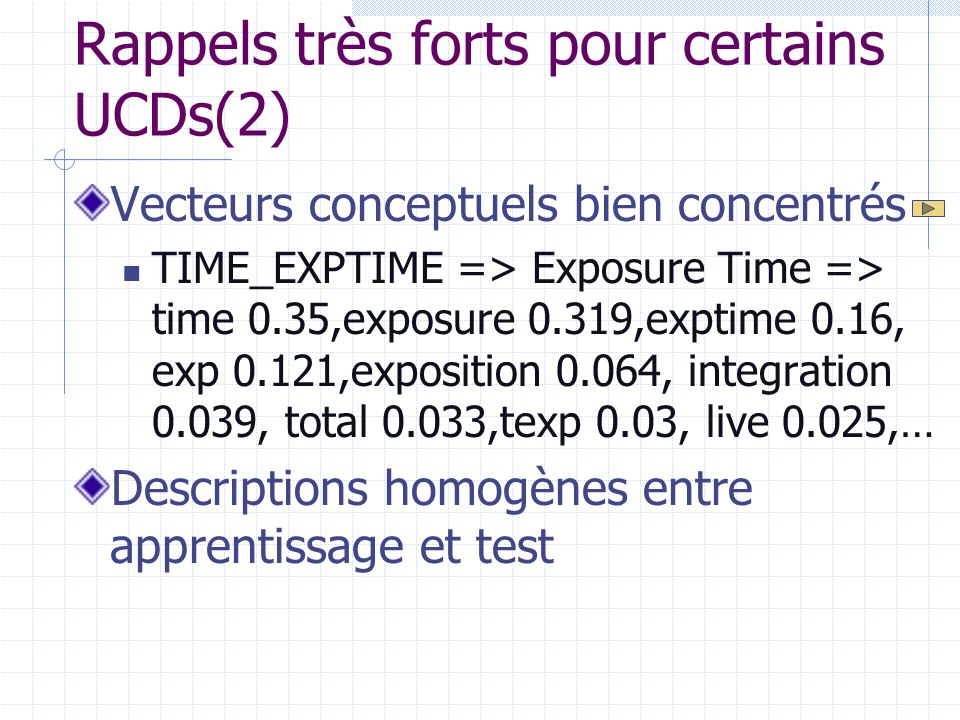 Rappels très forts pour certains UCDs(2) Vecteurs conceptuels bien concentrés TIME_EXPTIME => Exposure Time => time 0.35,exposure 0.319,exptime 0.16, exp 0.121,exposition 0.064, integration 0.039, total 0.033,texp 0.03, live 0.025,… Descriptions homogènes entre apprentissage et test