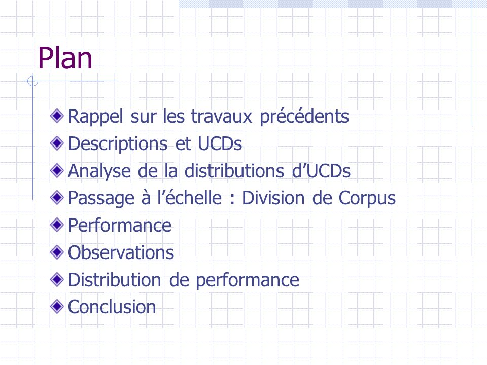 Plan Rappel sur les travaux précédents Descriptions et UCDs Analyse de la distributions dUCDs Passage à léchelle : Division de Corpus Performance Observations Distribution de performance Conclusion