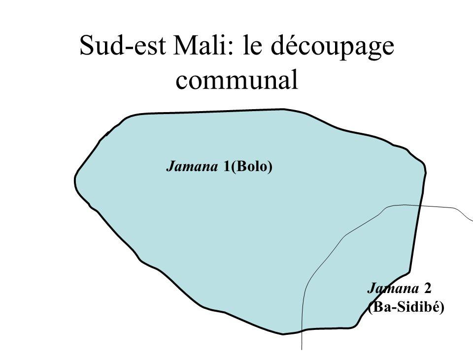 Sud-est Mali: le découpage communal (1996) Commune de Yanfolila Commune de Doussoudiana Commune de Koloni 5 villages, 3000 habitants 9 villages 5000 habitants 23000 habitants