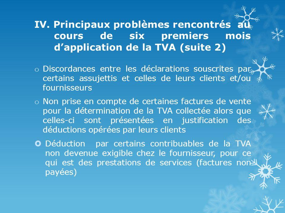 IV. Principaux problèmes rencontrés au cours de six premiers mois dapplication de la TVA (suite 2) o Discordances entre les déclarations souscrites pa