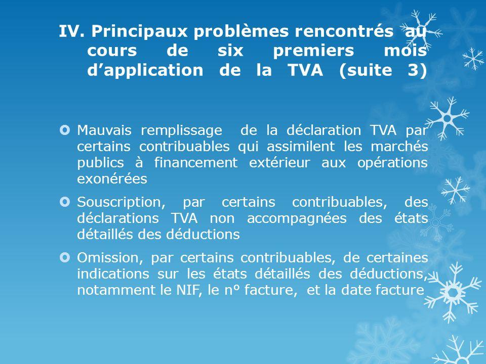 IV. Principaux problèmes rencontrés au cours de six premiers mois dapplication de la TVA (suite 3) Mauvais remplissage de la déclaration TVA par certa