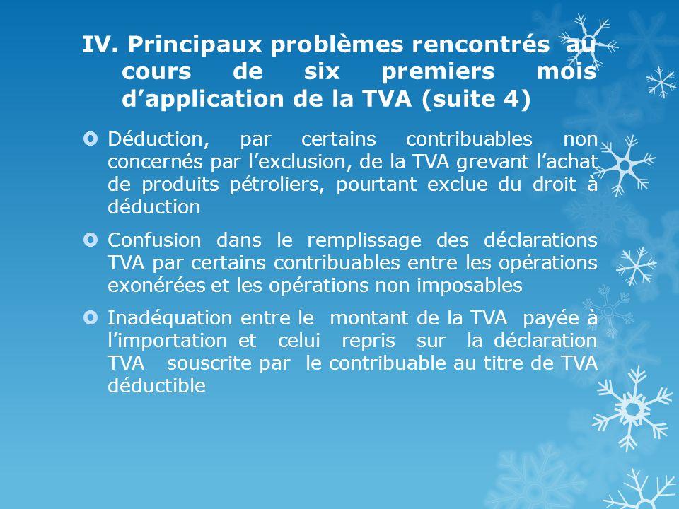 IV. Principaux problèmes rencontrés au cours de six premiers mois dapplication de la TVA (suite 4) Déduction, par certains contribuables non concernés