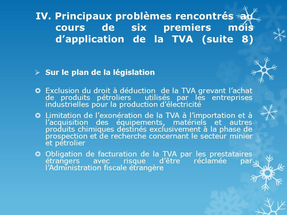 IV. Principaux problèmes rencontrés au cours de six premiers mois dapplication de la TVA (suite 8) Sur le plan de la législation Exclusion du droit à