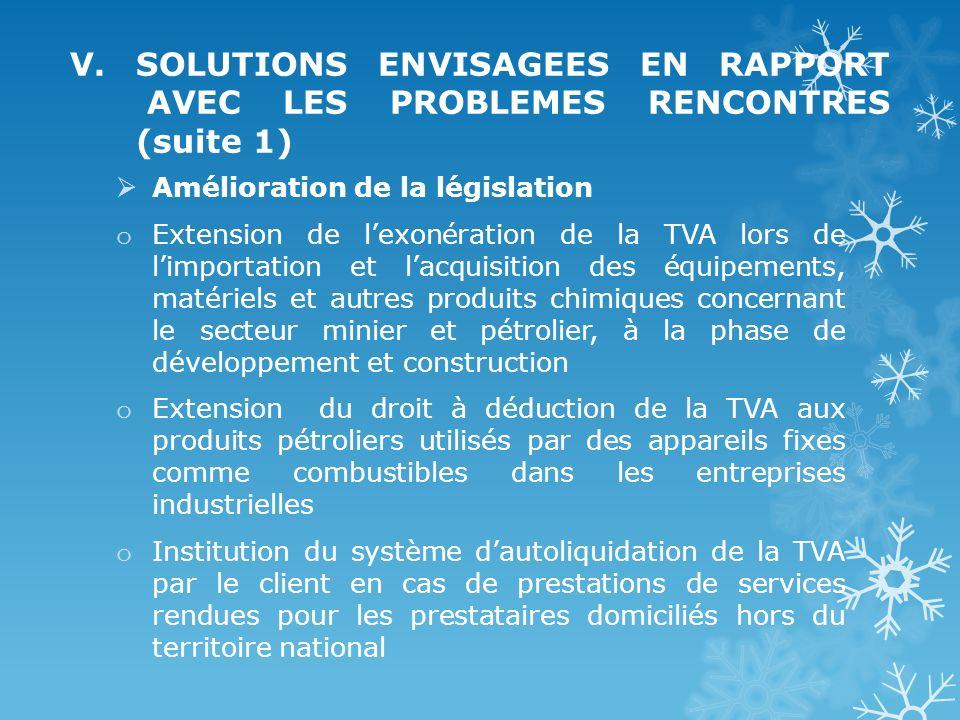 V. SOLUTIONS ENVISAGEES EN RAPPORT AVEC LES PROBLEMES RENCONTRES (suite 1) Amélioration de la législation o Extension de lexonération de la TVA lors d