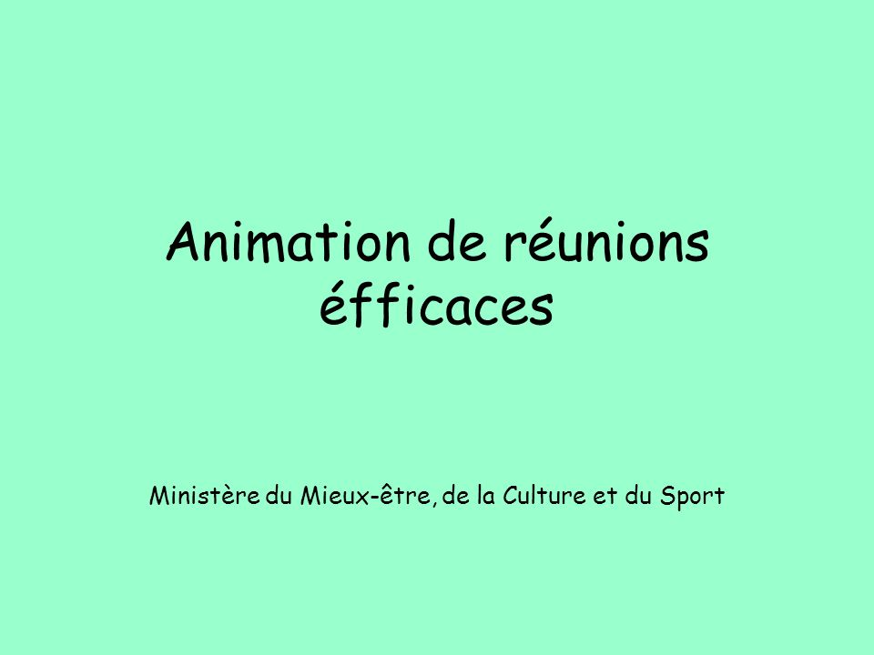 Animation de réunions éfficaces Ministère du Mieux-être, de la Culture et du Sport
