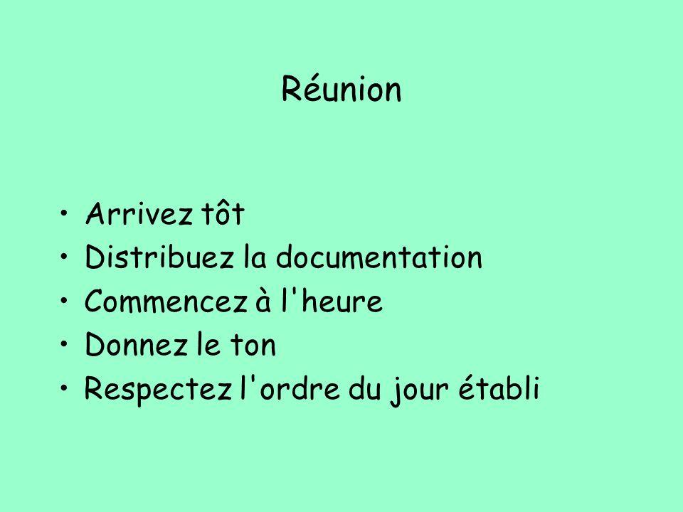 Réunion Arrivez tôt Distribuez la documentation Commencez à l'heure Donnez le ton Respectez l'ordre du jour établi