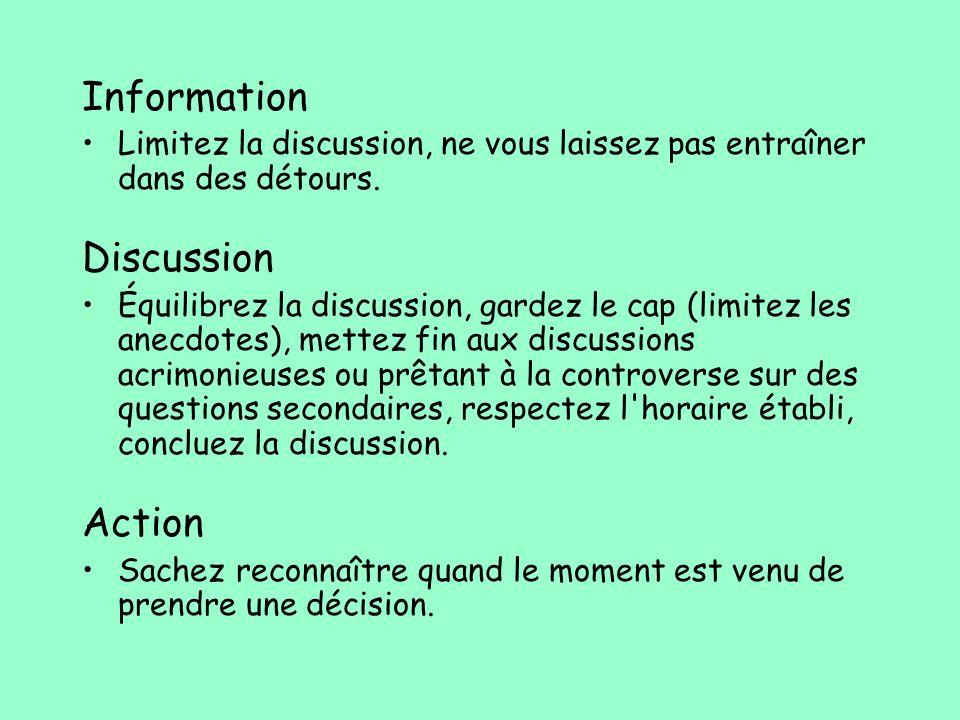 Information Limitez la discussion, ne vous laissez pas entraîner dans des détours. Discussion Équilibrez la discussion, gardez le cap (limitez les ane