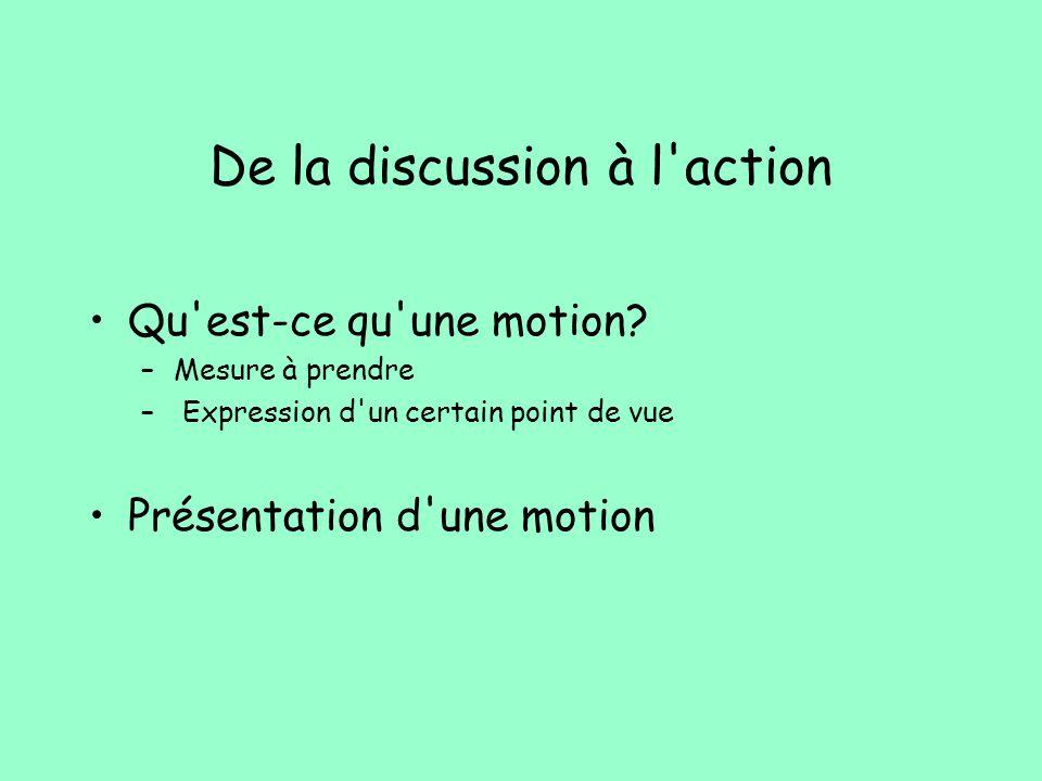 De la discussion à l'action Qu'est-ce qu'une motion? –Mesure à prendre – Expression d'un certain point de vue Présentation d'une motion
