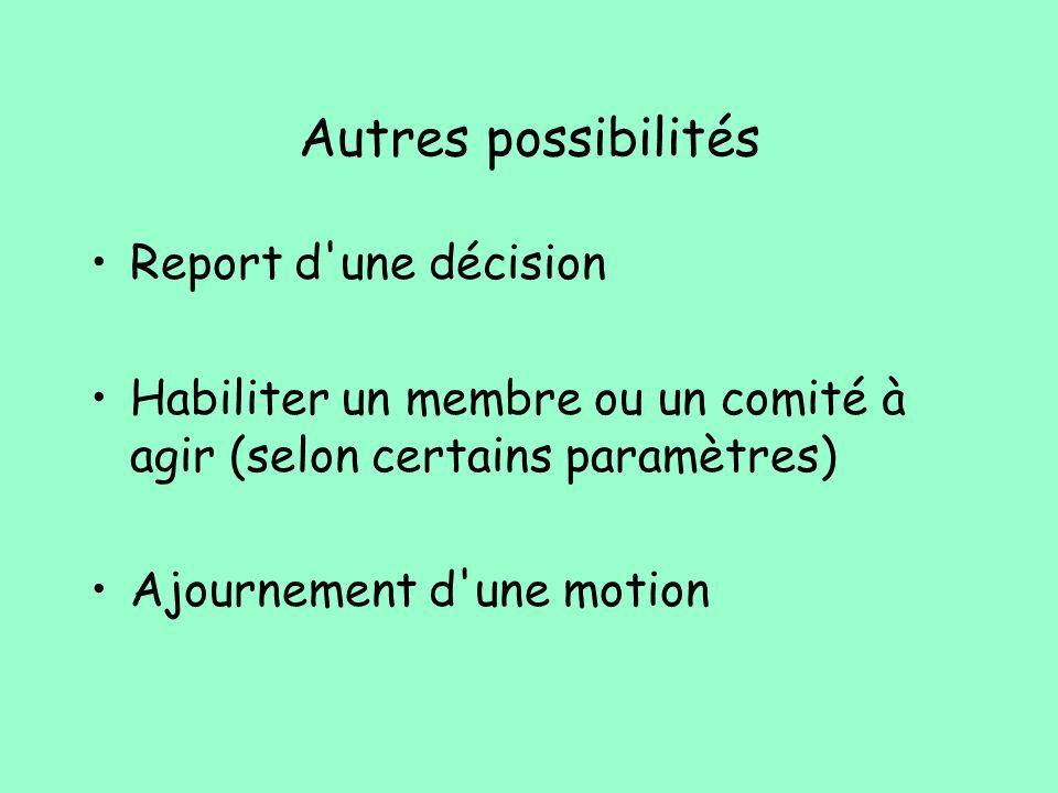 Autres possibilités Report d'une décision Habiliter un membre ou un comité à agir (selon certains paramètres) Ajournement d'une motion