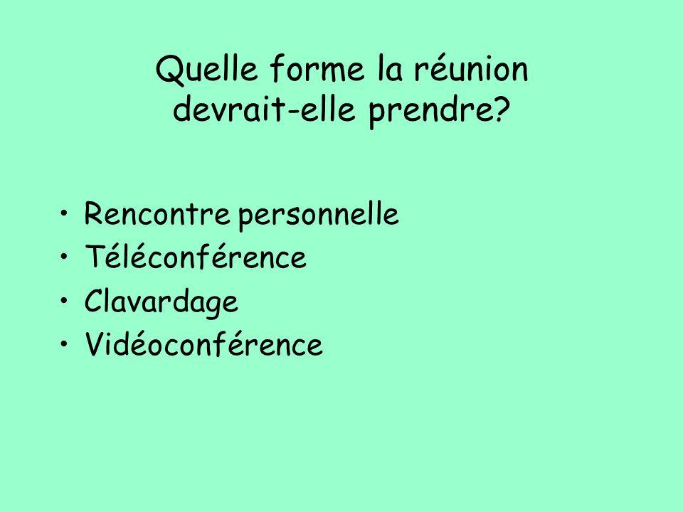Quelle forme la réunion devrait-elle prendre? Rencontre personnelle Téléconférence Clavardage Vidéoconférence
