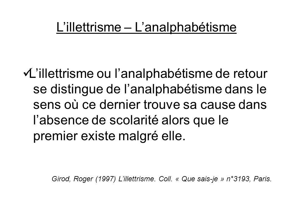 Lillettrisme ou lanalphabétisme de retour se distingue de lanalphabétisme dans le sens où ce dernier trouve sa cause dans labsence de scolarité alors que le premier existe malgré elle.