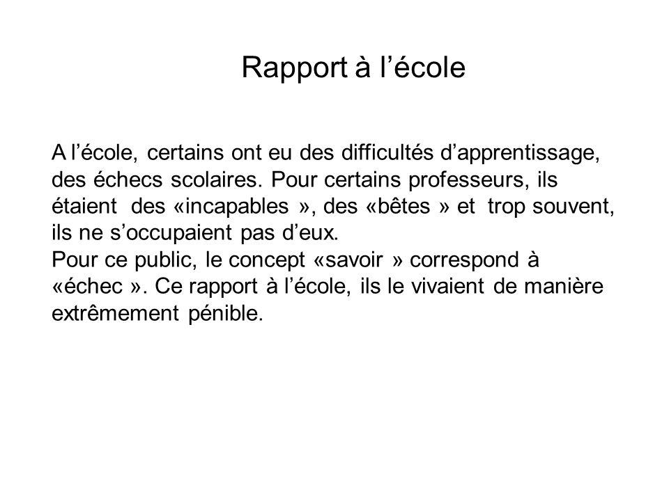 Rapport à lécole A lécole, certains ont eu des difficultés dapprentissage, des échecs scolaires.