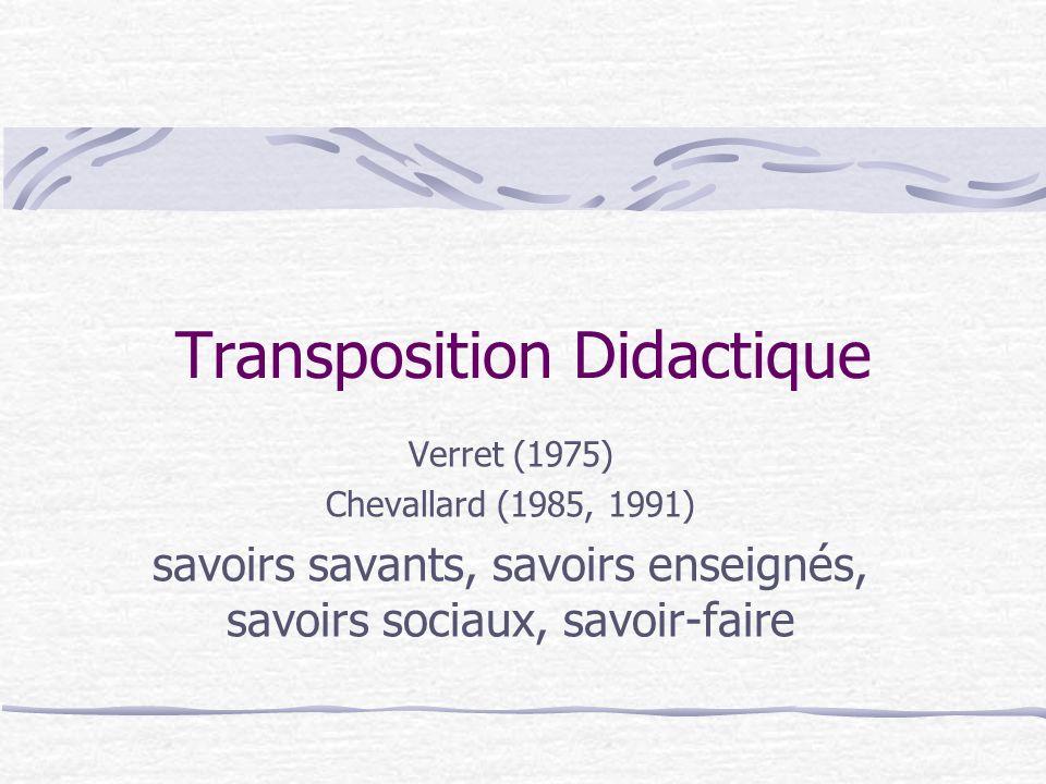 Transposition Didactique Verret (1975) Chevallard (1985, 1991) savoirs savants, savoirs enseignés, savoirs sociaux, savoir-faire