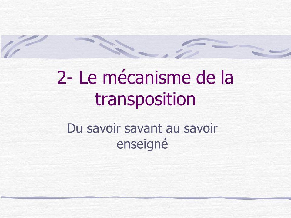 2- Le mécanisme de la transposition Du savoir savant au savoir enseigné