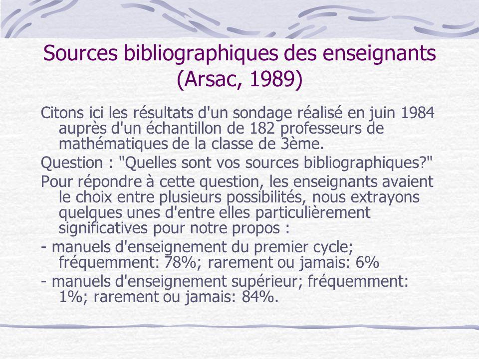 Sources bibliographiques des enseignants (Arsac, 1989) Citons ici les résultats d un sondage réalisé en juin 1984 auprès d un échantillon de 182 professeurs de mathématiques de la classe de 3ème.