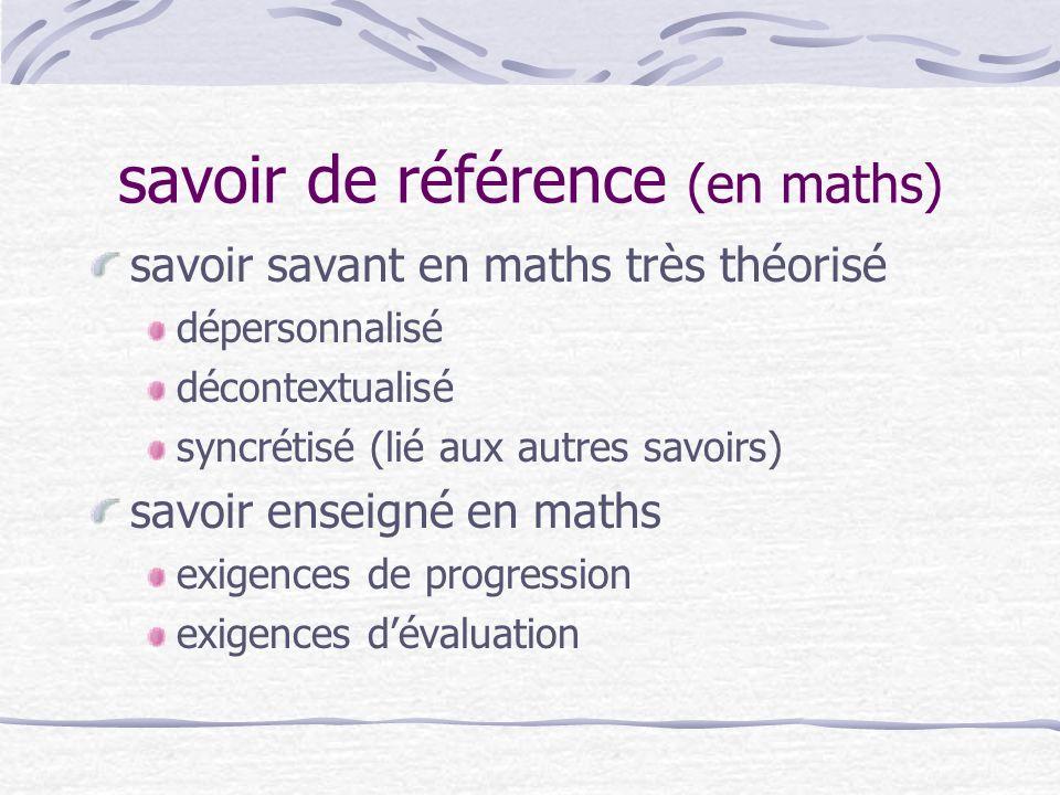 savoir de référence (en maths) savoir savant en maths très théorisé dépersonnalisé décontextualisé syncrétisé (lié aux autres savoirs) savoir enseigné en maths exigences de progression exigences dévaluation