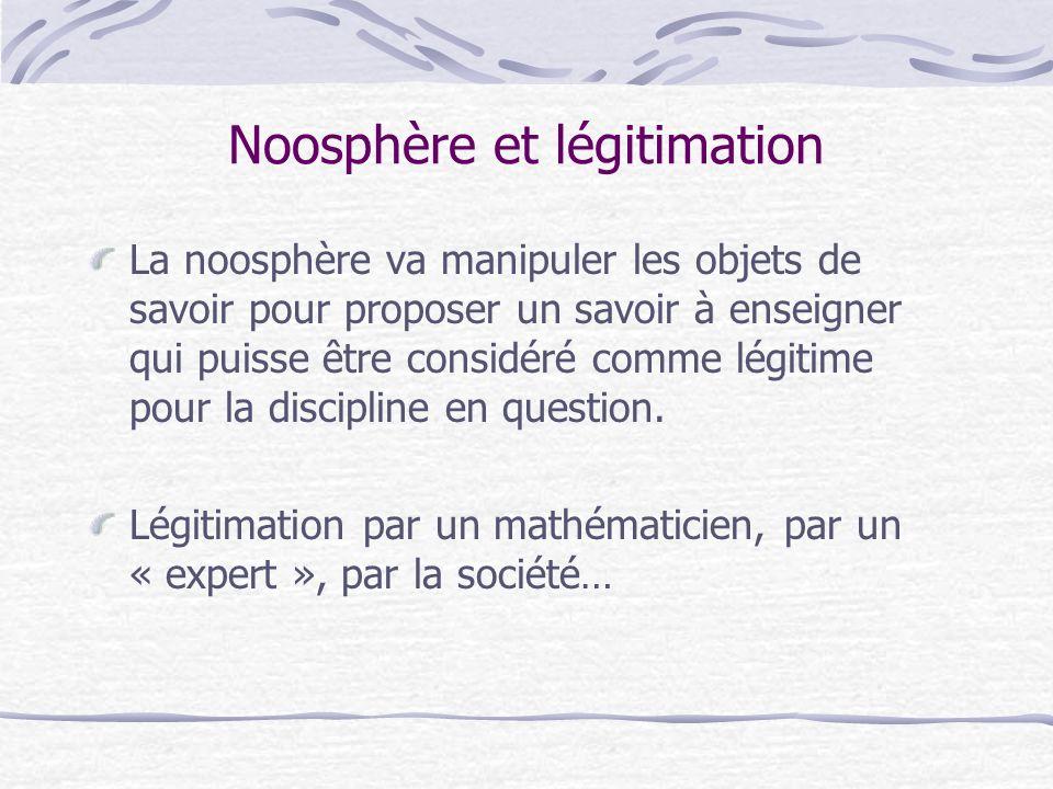 Noosphère et légitimation La noosphère va manipuler les objets de savoir pour proposer un savoir à enseigner qui puisse être considéré comme légitime pour la discipline en question.