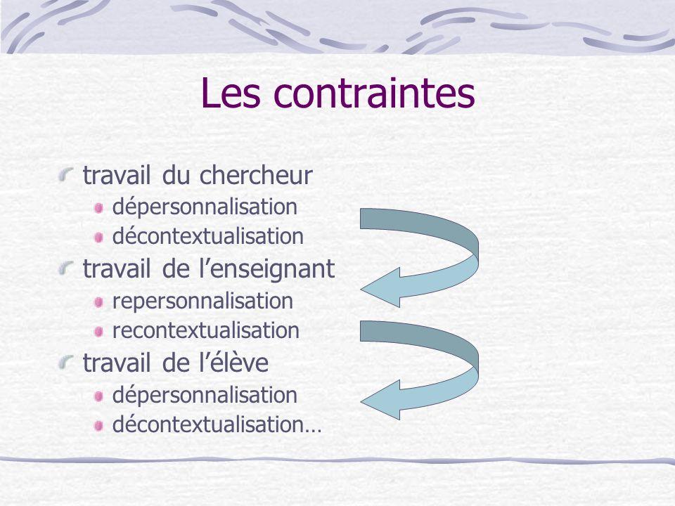 Les contraintes travail du chercheur dépersonnalisation décontextualisation travail de lenseignant repersonnalisation recontextualisation travail de lélève dépersonnalisation décontextualisation…