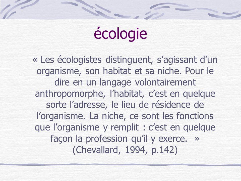 écologie « Les écologistes distinguent, sagissant dun organisme, son habitat et sa niche.