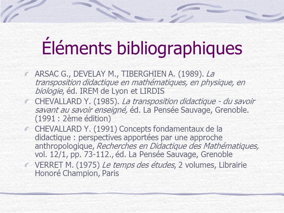 Éléments bibliographiques ARSAC G., DEVELAY M., TIBERGHIEN A.