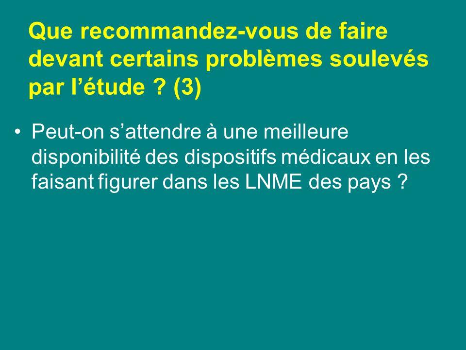 Que recommandez-vous de faire devant certains problèmes soulevés par létude ? (3) Peut-on sattendre à une meilleure disponibilité des dispositifs médi