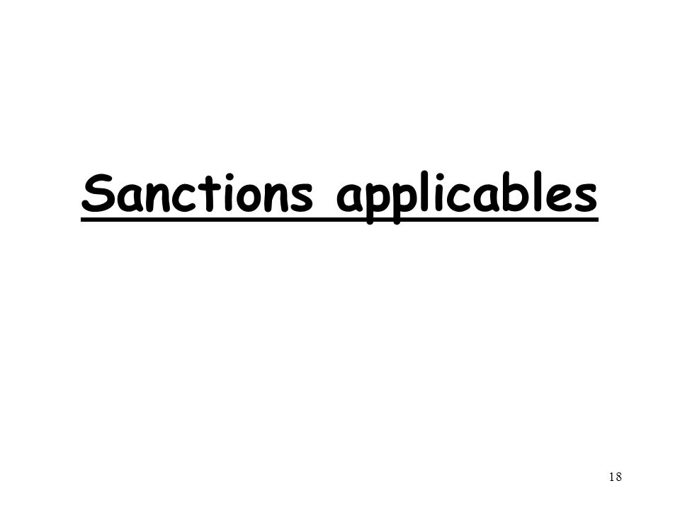 18 Sanctions applicables