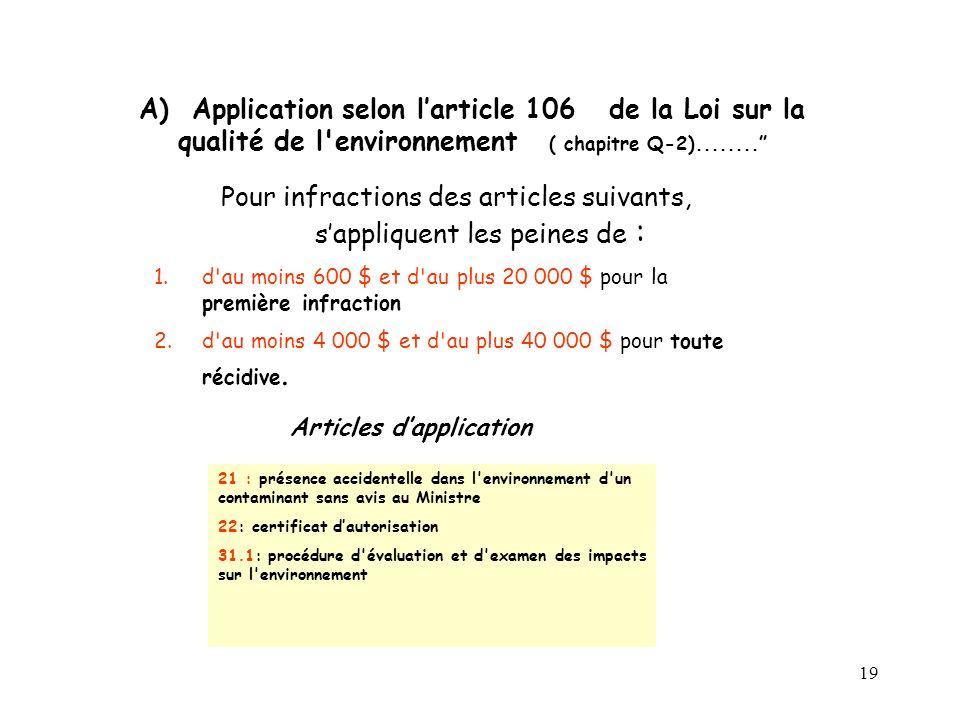 19 A) Application selon larticle 106 de la Loi sur la qualité de l environnement ( chapitre Q-2)........