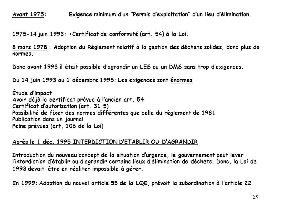 25 Avant 1975: Exigence minimum dun Permis dexploitation dun lieu délimination.